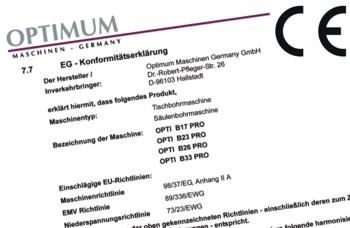 Сертификат на станок Optimum