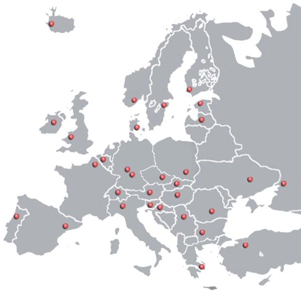 Карта европейских партнеров Optimum