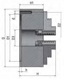 Габаритные и присоединительные размеры четырехкулачковых токарных патронов Optimum
