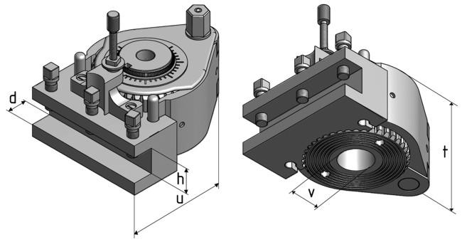 Габаритные размеры быстросменного резцедержателя картриджного типа SWH